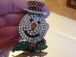 Fabulous Snowman colored rhinestone and crystal brooch pin image 6