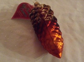 Fabulous Pinecone airbrushed w glitter Glass  Ornament Old German Christmas image 3