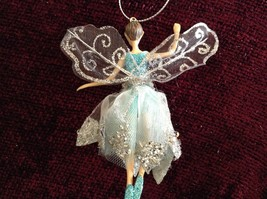 Fairy Ornament with Blue Glittered Shirt Clear White Dress Silver Beads image 3