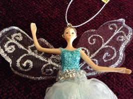 Fairy Ornament with Blue Glittered Shirt Clear White Dress Silver Beads image 2