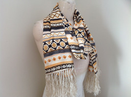 Geometric Patterned Tan Yellow Black Scarf with Tassels Silk Like Material image 2