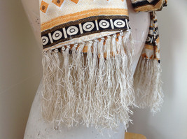 Geometric Patterned Tan Yellow Black Scarf with Tassels Silk Like Material image 5