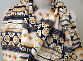 Geometric Patterned Tan Yellow Black Scarf with Tassels Silk Like Material image 3