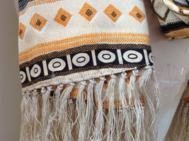 Geometric Patterned Tan Yellow Black Scarf with Tassels Silk Like Material image 4