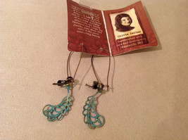 Geranium handmade limited edition turquoise color leaves dangling earrings image 2