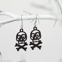 Fashion earrings filigree black skull and cross bones  Flourish image 2