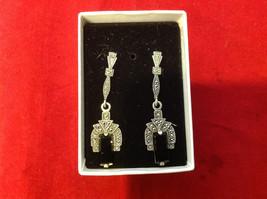 Geometric Art Deco Silver Post Back Dangle Earrings with Black Rectangular Stone image 6
