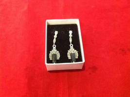 Geometric Art Deco Silver Post Back Dangle Earrings with Black Rectangular Stone image 7