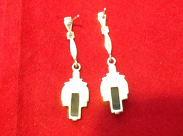 Geometric Art Deco Silver Post Back Dangle Earrings with Black Rectangular Stone image 3