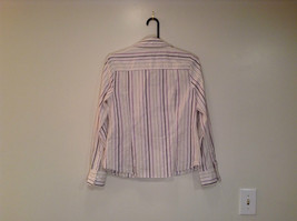 George Long Sleeve Button Up Shirt White with Violet Black Green Stripes Size M image 2