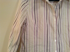 George Long Sleeve Button Up Shirt White with Violet Black Green Stripes Size M image 4