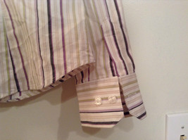 George Long Sleeve Button Up Shirt White with Violet Black Green Stripes Size M image 8
