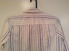 George Long Sleeve Button Up Shirt White with Violet Black Green Stripes Size M image 6
