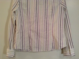 George Long Sleeve Button Up Shirt White with Violet Black Green Stripes Size M image 7