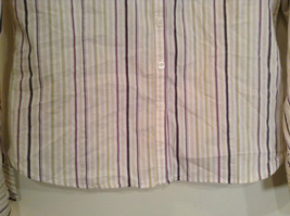 George Long Sleeve Button Up Shirt White with Violet Black Green Stripes Size M image 5