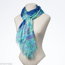 Fashion scarf  blue green floral paisley image 2