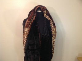 Faux Fur Infinity Scarf Reversible Leopard Print Black 100 Percent Polyester image 3