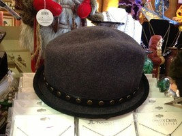Fedora hand felted wool ophelie brand gray hat w leather studded wrap image 2