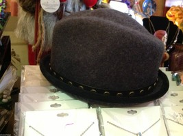Fedora hand felted wool ophelie brand gray hat w leather studded wrap image 5
