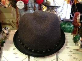 Fedora hand felted wool ophelie brand gray hat w leather studded wrap image 3