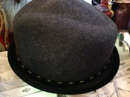 Fedora hand felted wool ophelie brand gray hat w leather studded wrap image 4