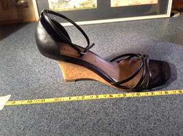Fioni Black Wedged Heel Shoes Good Condition Ankle Straps Size 10 image 10