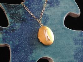 Gold Locket w Initial Monogram Riveted Necklace Adjustable Zina Kao Choice image 3