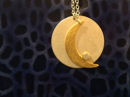 Gold Crescent Flat Moon Necklace w CZ Silver Disk & Chain by Zina Kao California image 2
