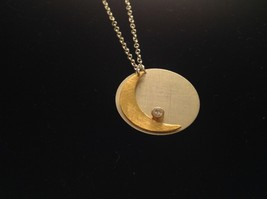 Gold Crescent Flat Moon Necklace w CZ Silver Disk & Chain by Zina Kao California image 8