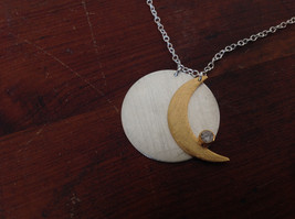Gold Crescent Flat Moon Necklace w CZ Silver Disk & Chain by Zina Kao California image 3