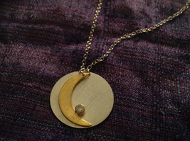 Gold Crescent Flat Moon Necklace w CZ Silver Disk & Chain by Zina Kao California image 5