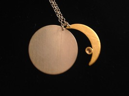Gold Crescent Flat Moon Necklace w CZ Silver Disk & Chain by Zina Kao California image 9