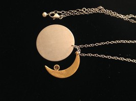 Gold Crescent Flat Moon Necklace w CZ Silver Disk & Chain by Zina Kao California image 10