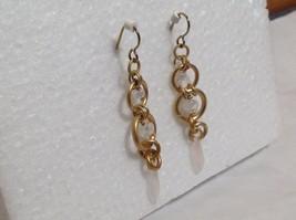 Gold Matted Tone Circle Design Aurora Stone Dangling Earrings Steam Punk Design image 3