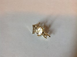Gold Tone Wall Clock Pin with Small Round Stone for Face Hinge Clasp image 2