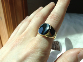 Gold Tone Square Black Stone Ring Size 8 and 10 Sold Separately image 4