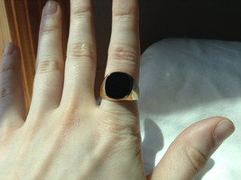 Gold Tone Square Black Stone Ring Size 8 and 10 Sold Separately image 6