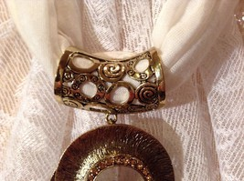 Gold Tone Spiral Circular Shaped Scarf Pendant with Large Brown Bead in Center image 5