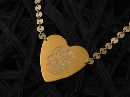 Gold engraved sugar skull heart hand made chain Necklace Zina Kao Day of Dead image 2