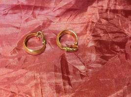 "Gold color vintage clip on gold hoop earrings 1.5"" image 3"