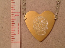 Gold engraved sugar skull heart hand made chain Necklace Zina Kao Day of Dead image 10