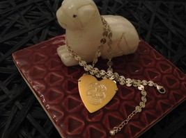 Gold engraved sugar skull heart hand made chain Necklace Zina Kao Day of Dead image 3