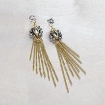 Gold  tone crystal post chain tassel earrings image 2