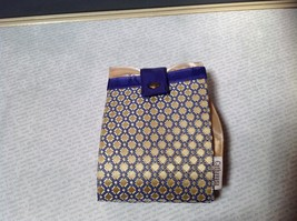 Gold with Purple Compact Zipped Up Purse Buttoned Together image 2