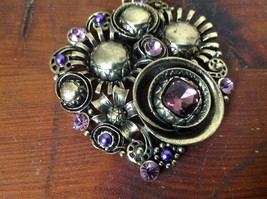 Good Looking Gold Tone Scarf Pendant with Light Purple Crystals and Purple Beads image 2