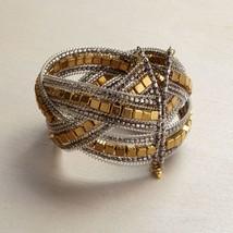 Gold square metallic bead wrap cuff intricate bracelet  image 2