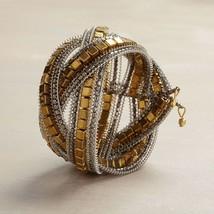 Gold square metallic bead wrap cuff intricate bracelet  image 3