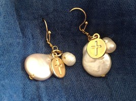 Gold w Pearl Christian Cross Faith dangle charm drop prayer earrings image 3