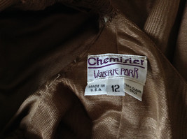 Golden Brown Vintage Dress Beautiful Gown by Chemisier Valerie Porr Size 12 image 11