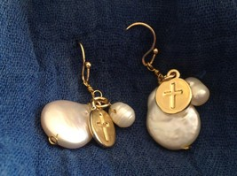 Gold w Pearl Christian Cross Faith dangle charm drop prayer earrings image 4